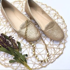 Nine West gold sparkle flats